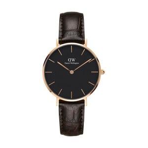 Dámske hodinky s koženým remienkom a detailmi ružovozlatej farby Daniel Wellington Petite York, ⌀32 mm