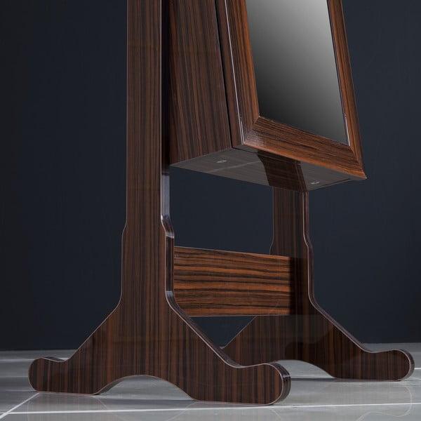 Uzamykateľné stojacie zrkadlo so šperkovnicou Da Vinci, ebenové