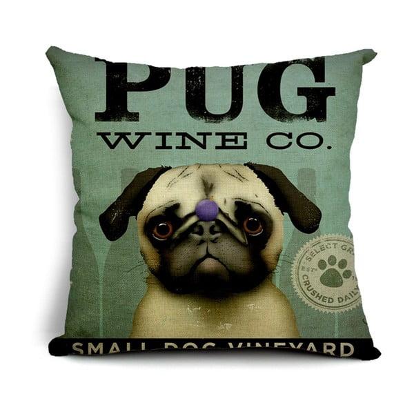 Obliečka na vankúš Pug Wine, 45x45 cm