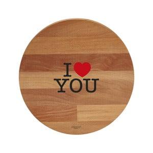 Doska na krájanie z bukového dreva Bisetti I Love You, 30cm