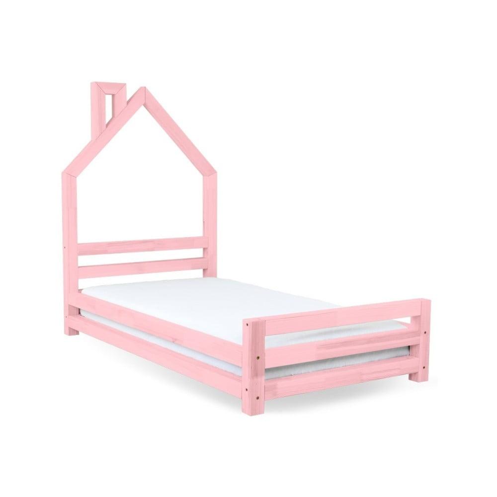 Detská ružová posteľ zo smrekového dreva Benlemi Wally, 120 × 200 cm