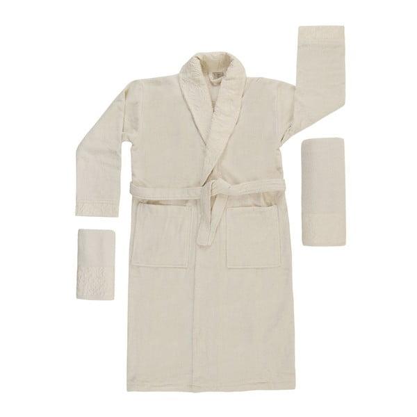 Biely set županu, uteráka a osušky zo 100% bavlny Crespo, veľ. M / L