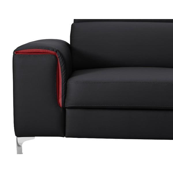 Čierno-ružová pohovka Modernist Serafino, ľavý roh