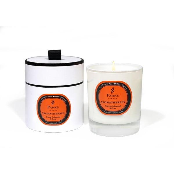 Sviečka s vôňou cédrového dreva, klinčekov a pomaranča Parks Candles London Aromatherapy, 45hodín horenia