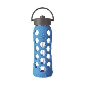 Sklenená fľaša na vodu so silikónovou slamkou a chráničom Lifefactory Ocean, 650 ml