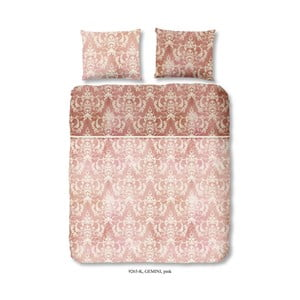 Obliečka na jednolôžko z bavlneného saténu Descanso Pink, 155 x 200 cm
