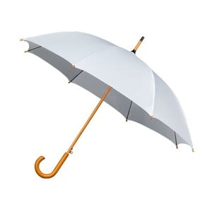 Biely dáždnik s dreveným madlom Ambiance Wooden, ⌀ 102 cm