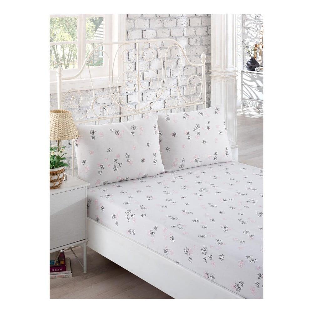 Set bielej elastickej plachty a 2 obliečok na vankúše na jednolôžko Softy, 160 × 200 cm