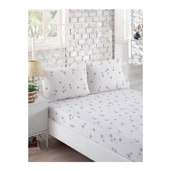 Set bielej elastickej plachty a 2 obliečok na vankúše na jednolôžko Softy, 160×200 cm