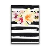 Plagát s kvetmi, čierno-biele pruhované pozadie, 30x40 cm