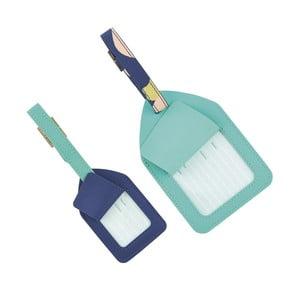 Sada 2 modrých visačiek na batožinu Busy B