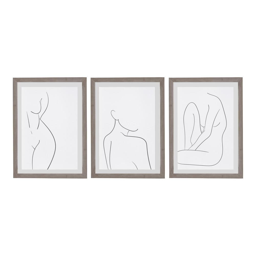 Sada 3 nástenných obrazov v ráme Surdic Body Studies, 35 x 45 cm