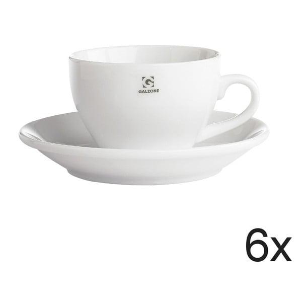 Sada 6 šálok s tanierikom Bianco, 9x6,5 cm