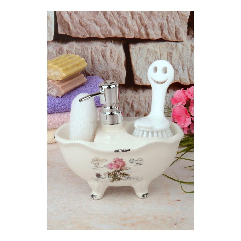 Set dávkovača mydla, špongie a kefy na telo Bubbles