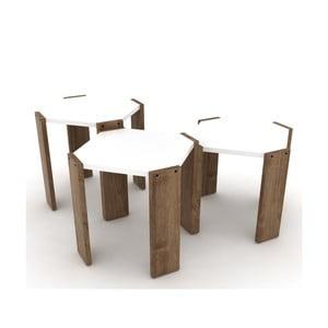 Sada 3 stohovateľných odkladacích stolíkov s bielym detailom Rafevi Hansel