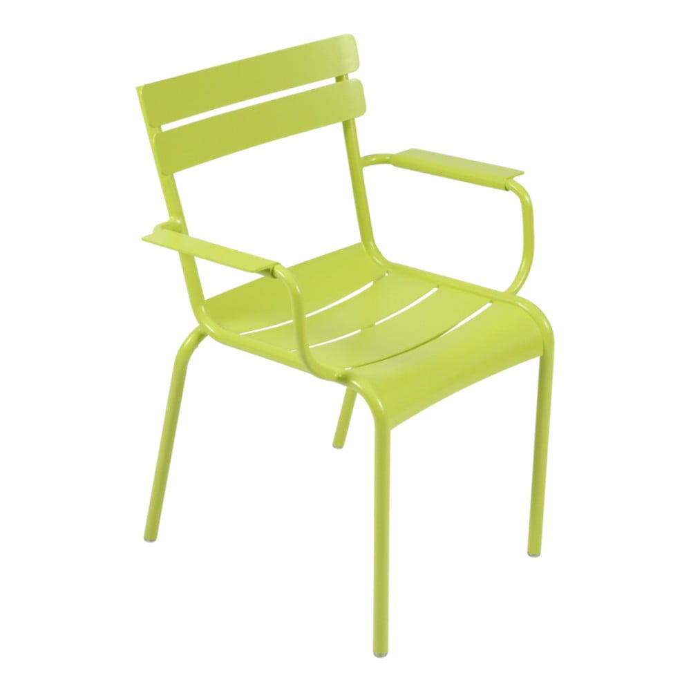 Zelená záhradná stolička s opierkami Fermob Luxembourg