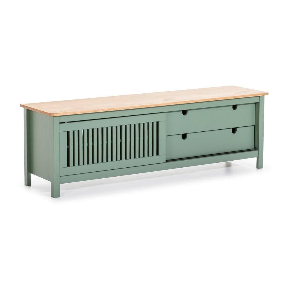 Zelený drevený TV stolík Marckeric Bruna