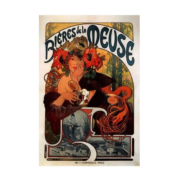 Obraz Alfons Mucha Bieres de la Meuse, 90x60 cm