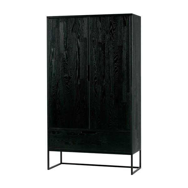 Čierna skriňa z dubového dreva WOOOD Silas, výška 145 cm