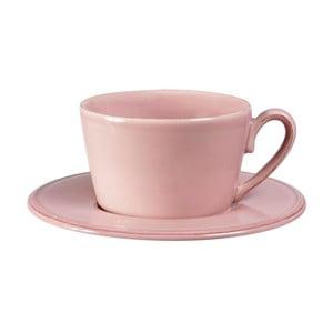 Ružový kameninový hrnček s tanierikom Côté Table Constance, 375 ml