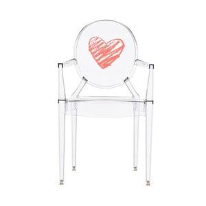 Detská transparentná stolička Kartell Lou Lou Ghost Heart