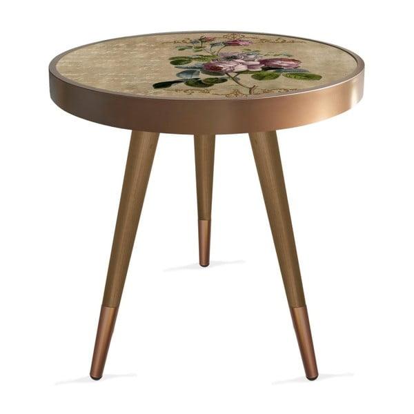 Príručný stolík Rassino Brown Rose Circle, ⌀ 45 cm