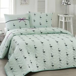 Prikrývka cez posteľ na dvojlôžko s obliečky na vankúše Flamingo, 200×220cm
