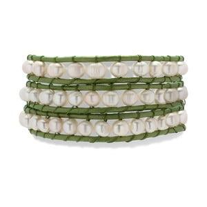 Svetlozeleno-biely kožený náramok s perlami Nova Pearls Copenhagen Néreus
