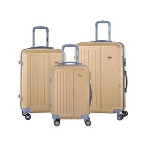Sada 3 cestovných kufrov v béžovej farbe na kolieskách s kódovým zámkom SINEQUANONE