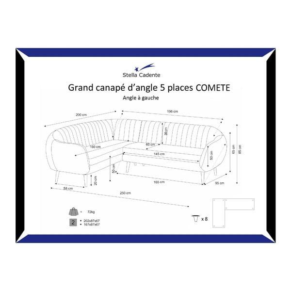 Pohovka Comete Grand Anthracite s leňoškou na ľavej strane