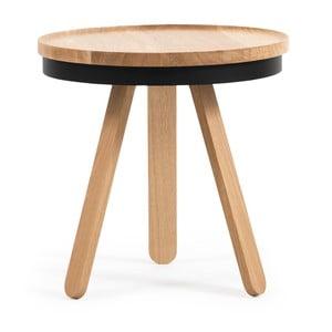 Prírodno-čierny odkladací stolík z dubového dreva spodnosom Woodendot Batea S