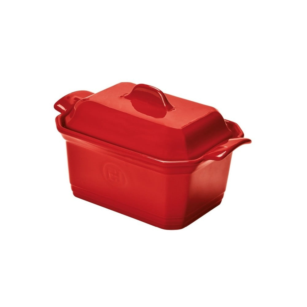 Červená zapekacia nádoba na paštiku Emile Henry, 19x12 cm