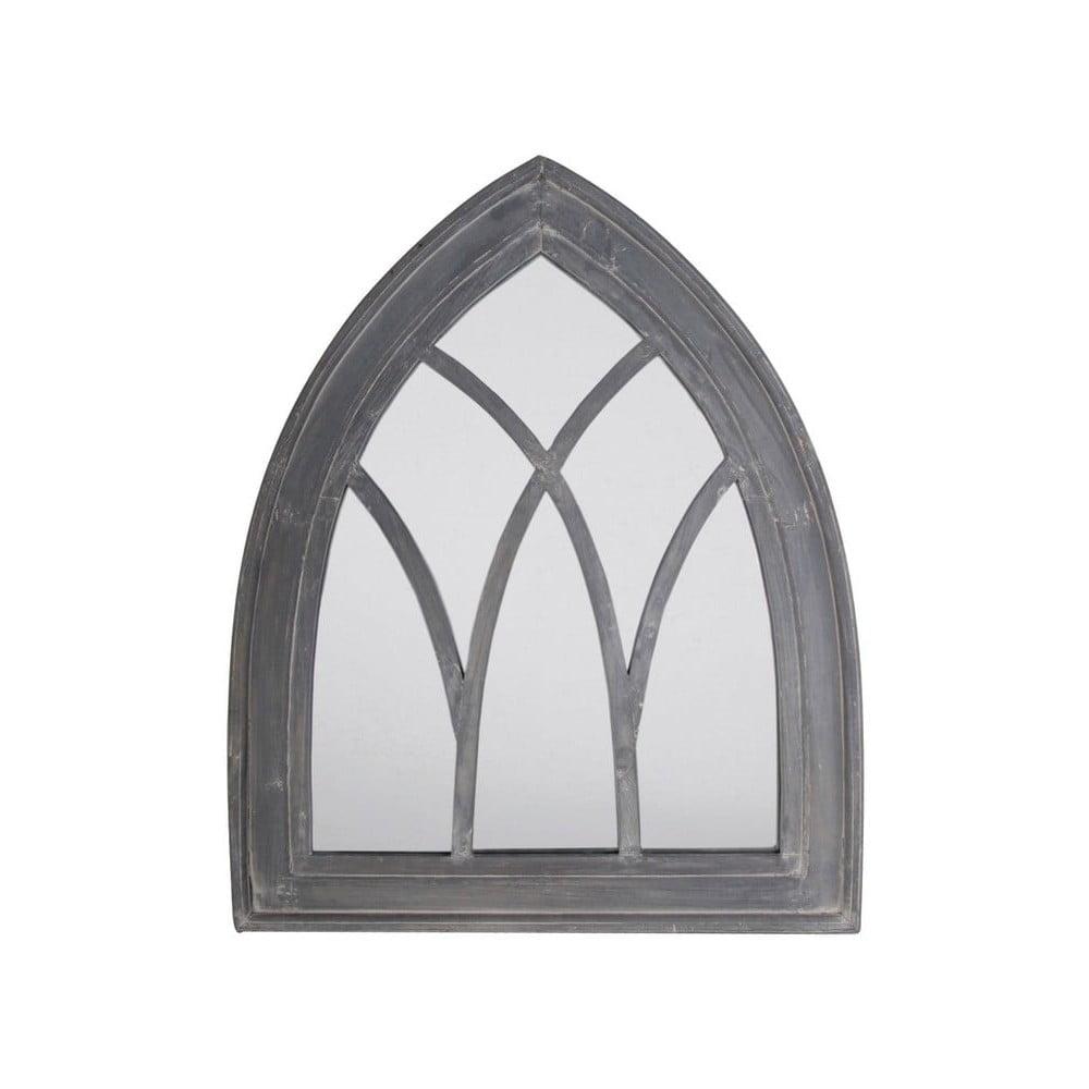 Sivé zrkadlo s rámom z borovicového dreva Esschert Design, výška 80 cm