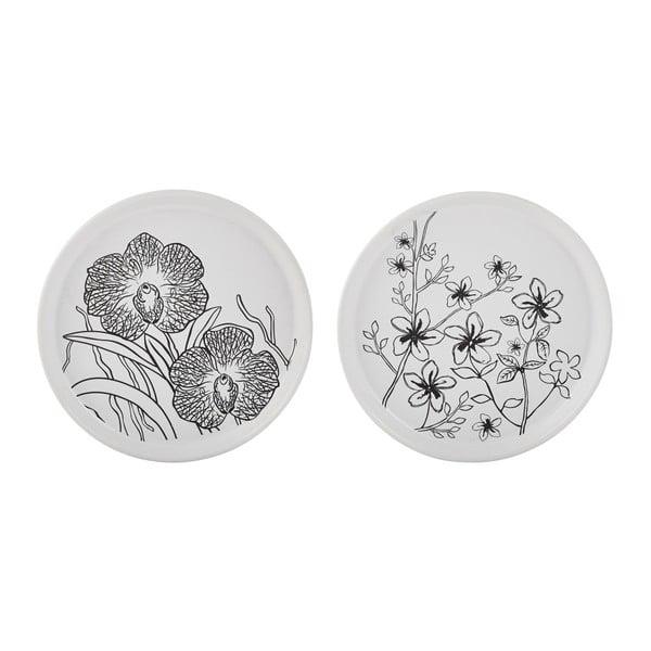 Sada 2 podložiek pod sviečku KJ Collection White Flower