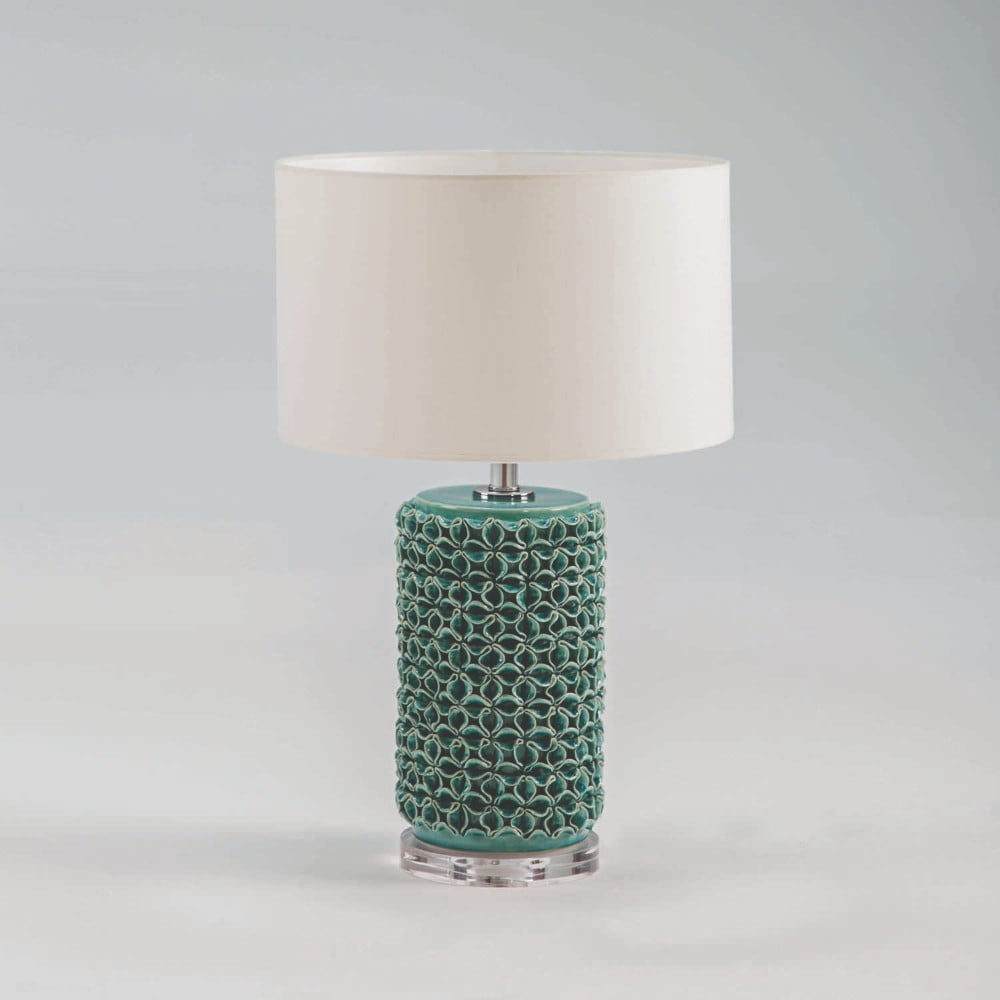 Zelená keramická stolová lampa bez tienidla Thai Natura, výška 45 cm