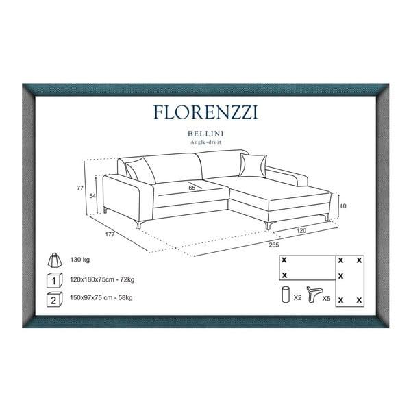 Hnedá pohovka Florenzzi Bellini s leňoškou na pravej strane