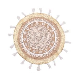 Kruhový koberec z juty a bavlny InArt White Mandala, ⌀ 90 cm