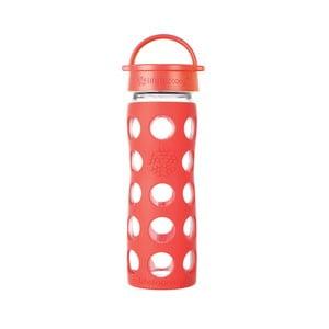 Sklenená fľaša na vodu so silikónovým chráničom Lifefactory Poppy Classic, 475 ml