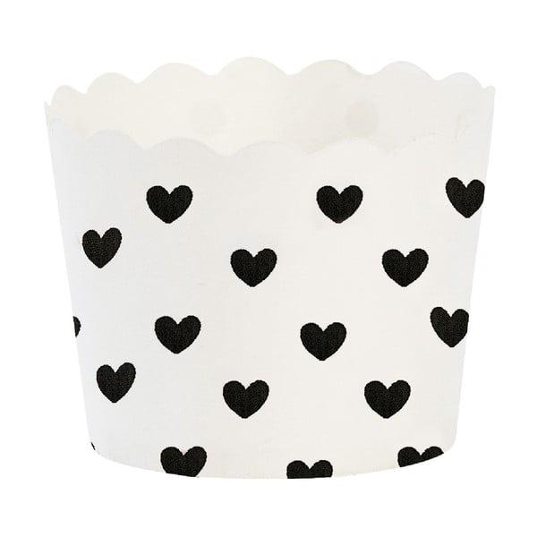 Papierové košíčky na muffiny Black Heart, 24 ks