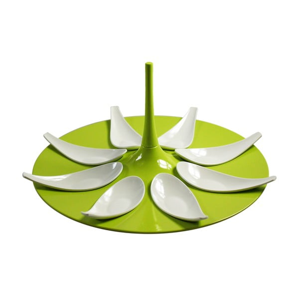 Zeleno-biely servírovací set na jednohubky Entity