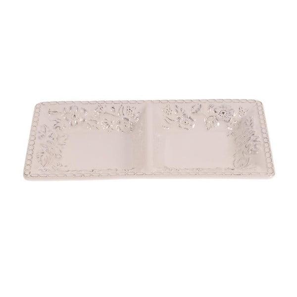 Dvojitý keramický tanier White Brushed, 30x17 cm