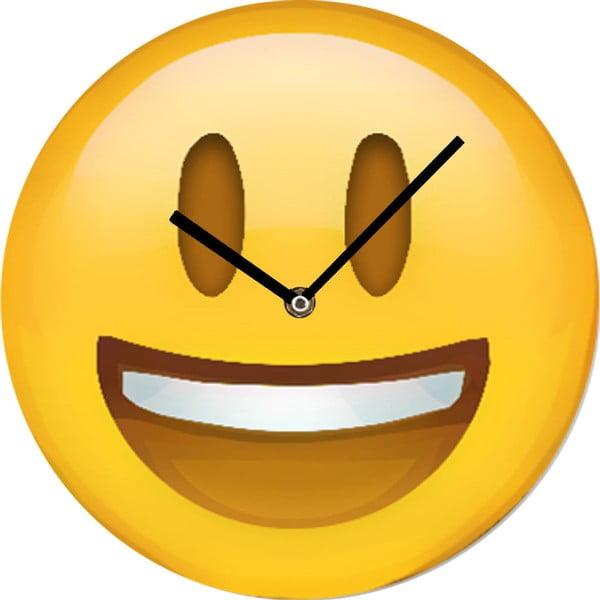 Sklenené hodiny Smajlík, 30 cm