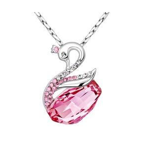 Náhrdelník s ružovými krištáľmi Swarovski Elements Crystals Swan
