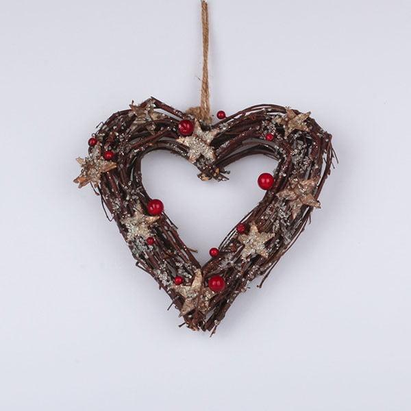 Závesné srdce Dakls, hnedé