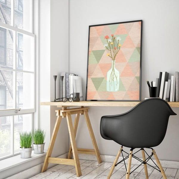 Plagát v drevenom ráme Flowers in vase, 38x28 cm