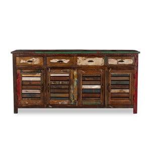 Štvordverový príborník z recyklovaného dreva Woodking Colour