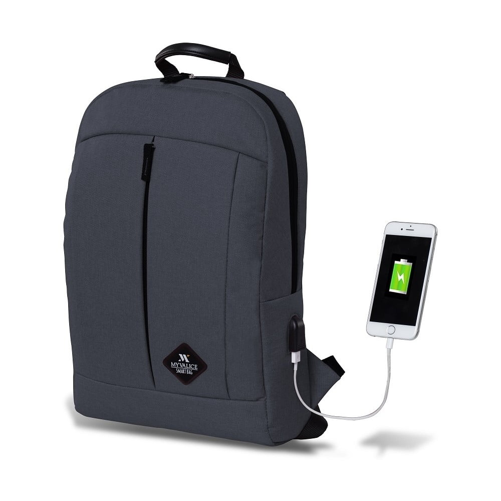 Antracitový batoh s USB portom My Valice GALAXY Smart Bag