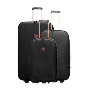 Sada 3 čiernych cestovných kufrov na kolieskach Travel World Let's Go
