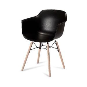 Čierna jedálenská stolička s nohami z bukového dreva Furnhouse Jupiter
