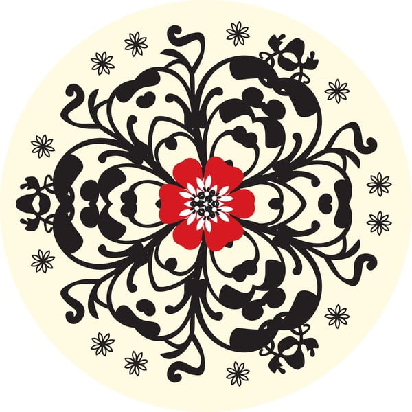 Samolepky Flower Red/Black